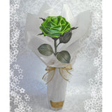 Lime green leather rose with vase