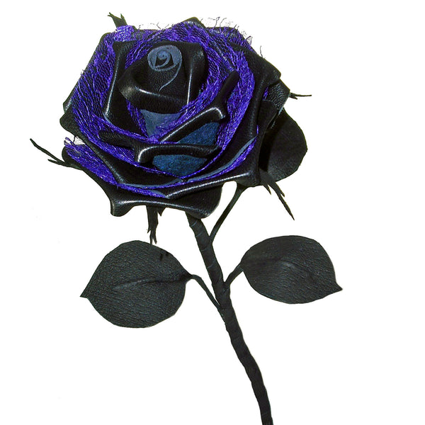 Black leather rose with purple lace