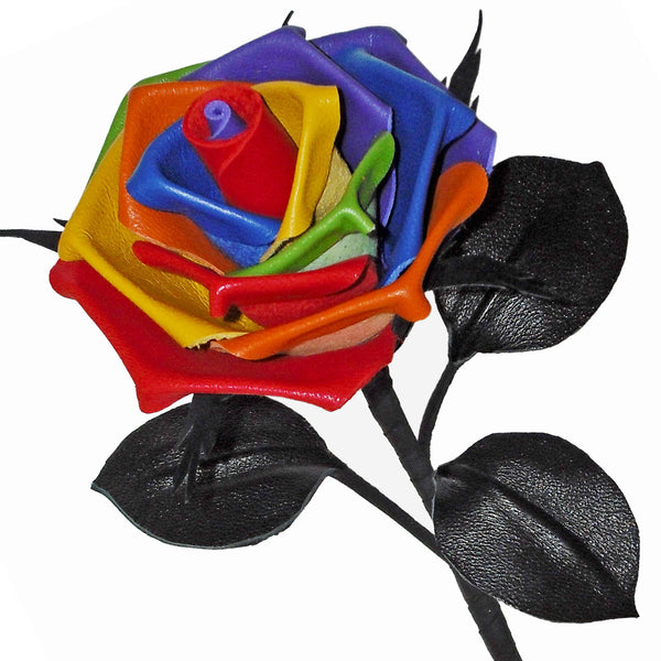 Rainbow leather rose