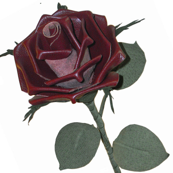 Burgundy red leather rose