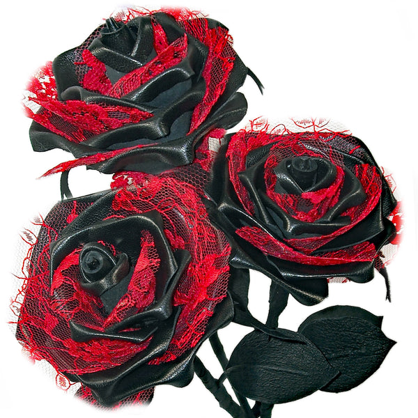 'The Decadence Trio' - 3 black leather roses with lace