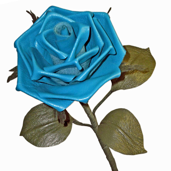 'Aqua' blue leather rose