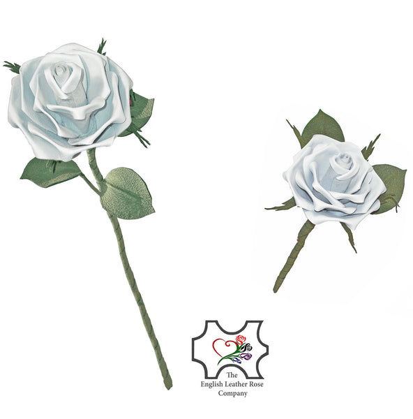 'Serenity' - White leather rose. Long stem or short stem 'buttonhole' rose.