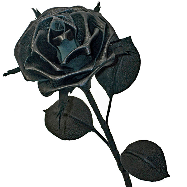 Gothic Black leather rose