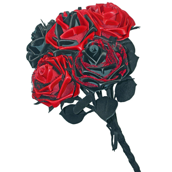 Bouquet of red and black leather roses