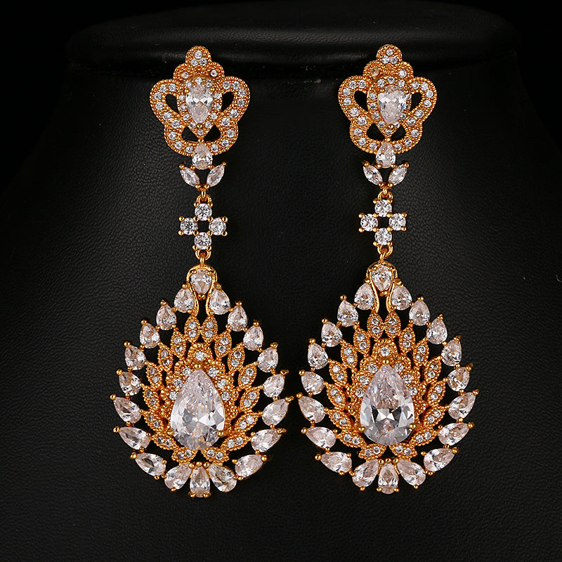 ZIRCON STONES HIGHLY FINISHED GOLD PLATED ART NOVEAU LUXURY EARRINGS