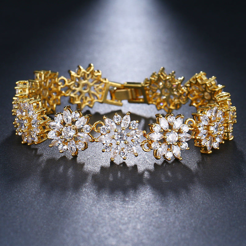 ZIRCON STONES HIGHLY FINISHED GOLD PLATED ART NOVEAU LUXURY BRACELET