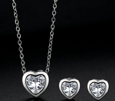 LUXURY WEAR PLATINUM PLATED ZIRCON SET