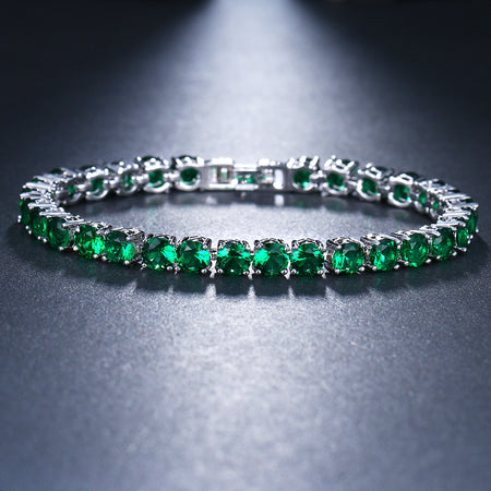 ZIRCON STONES RHODIUM FINISHED ART NOVEAU LUXURY BRACELET