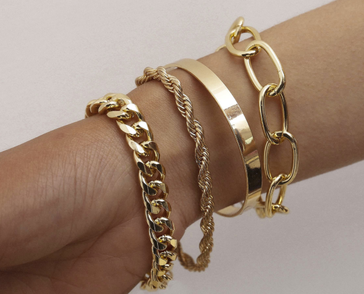 bracelet set gold plating set of 4