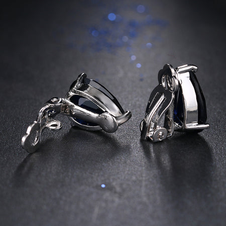 ZIRCON STONES HIGHLY FINISHED STUD STYLE RHODIUM ART NOVEAU LUXURY EARRINGS