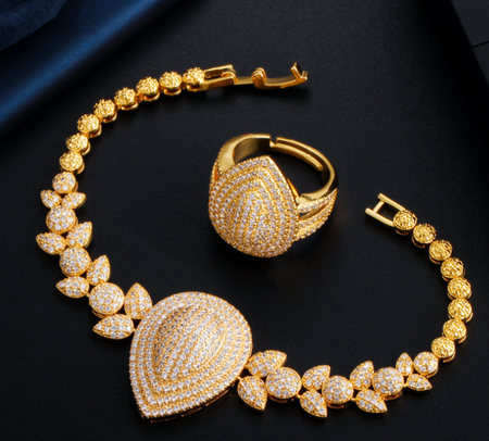 Gold plated zircon bracelet and ring set luxury wear!