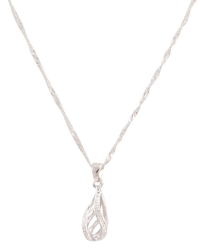 Drop Shape silver plated pendant necklace - Lexception