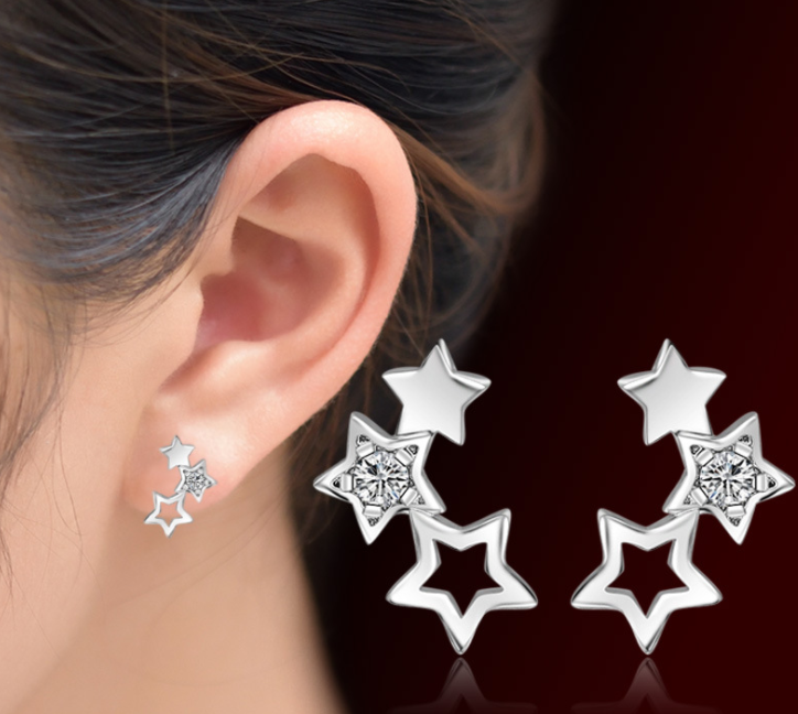 HIGH QUALITY PLATINUM PLATED ZIRCON EARRING