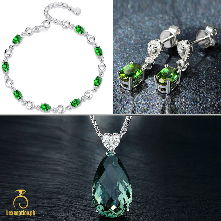 HIGH QUALITY LUXURY WEAR PLATINUM PLATED ZIRCON PENDANT CHAIN NECKLACE BRACELET EARRINGS!