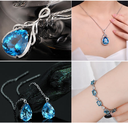 HIGH QUALITY LUXURY WEAR PLATINUM PLATED ZIRCON CHAIN PENDANT NECKLACE , BRACELET AND EARRINGS!