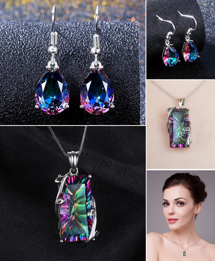 HIGH QUALITY LUXURY WEAR PLATINUM PLATED ZIRCON PENDANT CHAIN NECKLACE  AND EARRINGS!