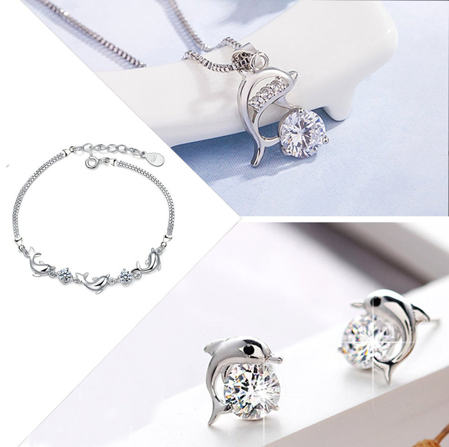 HIGH QUALITY LUXURY WEAR PLATINUM PLATED ZIRCON PENDANT CHAIN NECKLACE BRACELET & EARRINGS