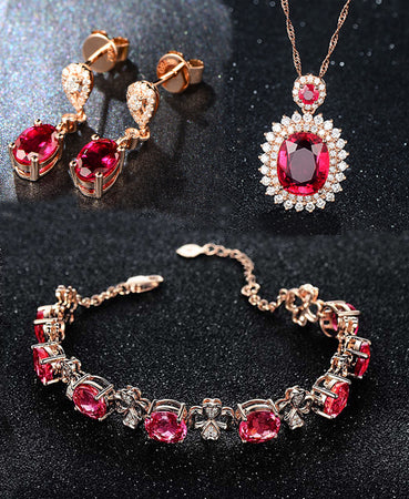 HIGH QUALITY LUXURY WEAR ROSE GOLD PLATED ZIRCON PENDANT CHAIN NECKLACE EARRINGS AND BRACELET!