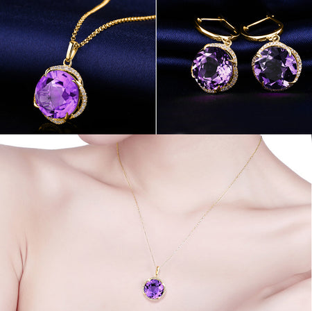 HIGH QUALITY LUXURY WEAR GOLD PLATED ZIRCON CHAIN NECKLACE & EARRINGS