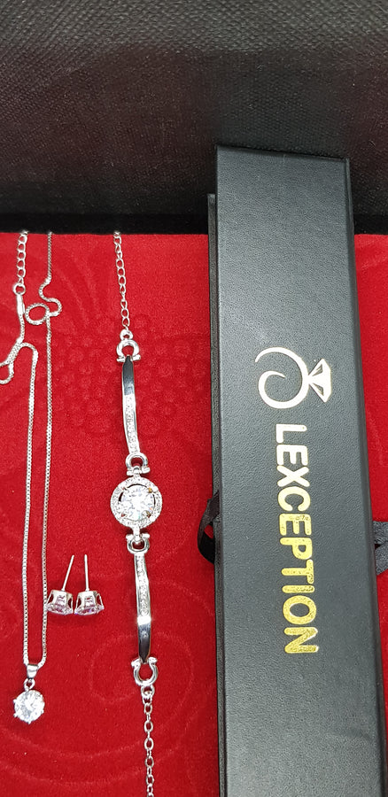 3pcs Necklace Bracelet & Earring set with Free Gift box!