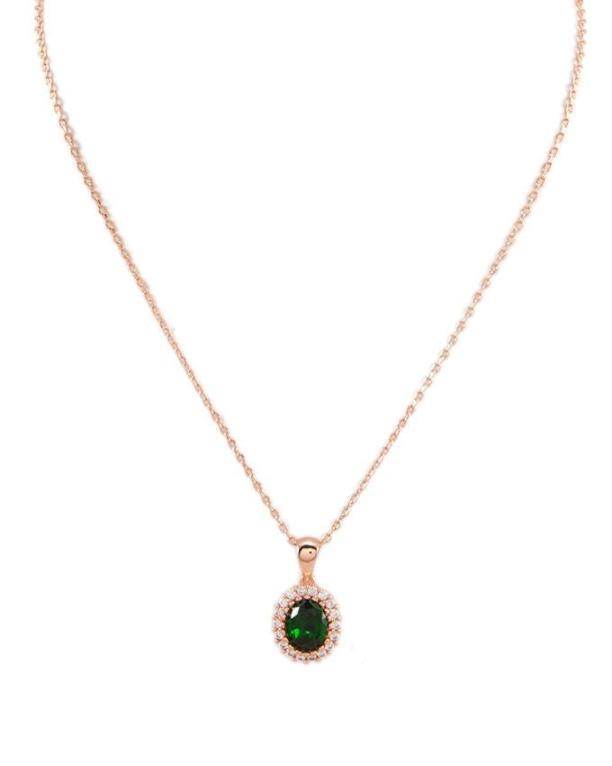 18k rose gold plated zircon pendant necklace