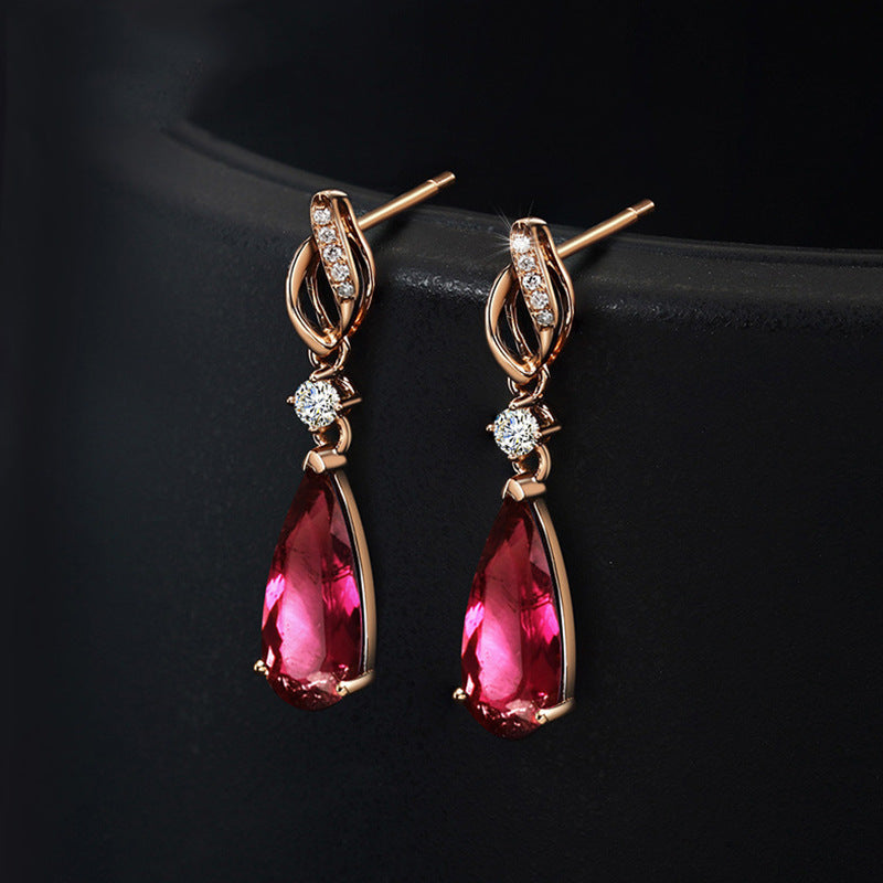 HIGH QUALITY LUXURY WEAR PLATINUM PLATED ZIRCON EARRINGS