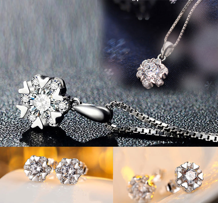 HIGH QUALITY LUXURY WEAR PLATINUM PLATED ZIRCON PENDANT CHAIN NECKLACE EARRINGS