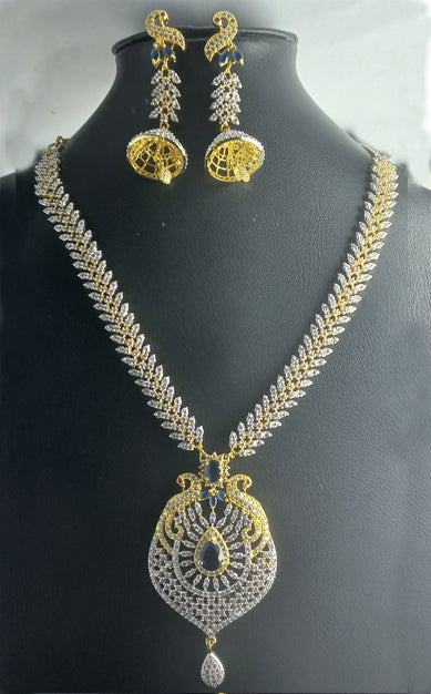 HIGH QUALITY LUXURY WEAR PLATINUM PLATED ZIRCON PENDANT CHAIN NECKLACE & EARRINGS