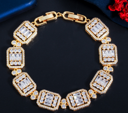 Rhodium Rose gold plated zircon bracelet luxury wear!