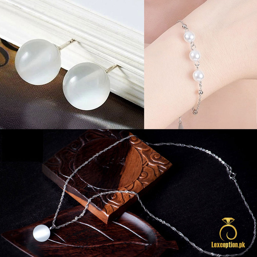 HIGH QUALITY LUXURY WEAR PLATINUM PLATED ZIRCON CHAIN PENDANT BRACELET EARRINGS!