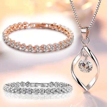 High quality zircon pendant chain necklace and 2 bracelets set (pack of 3 items)! - Lexception