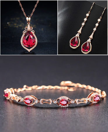 HIGH QUALITY LUXURY WEAR ROSE GOLD PLATED ZIRCON PENDANT CHAIN NECKLACE EARRINGS AND BRACELET! - Lexception