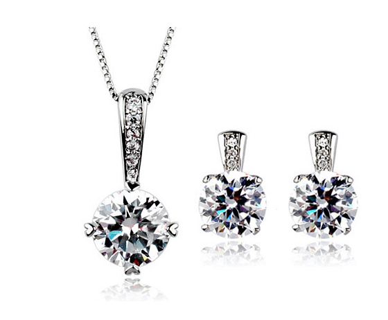 18k platinum plated high quality necklace earrings jewelry set