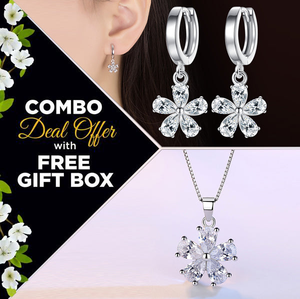 HIGH QUALITY LUXURY WEAR PLATINUM PLATED ZIRCON CHAIN PENDANT AND EARRINGS!