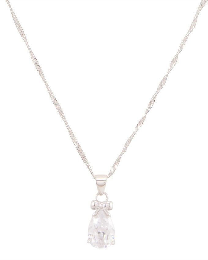 zircon silver plated necklace
