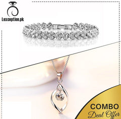 High quality zircon pendant chain necklace and bracelet set of 2!