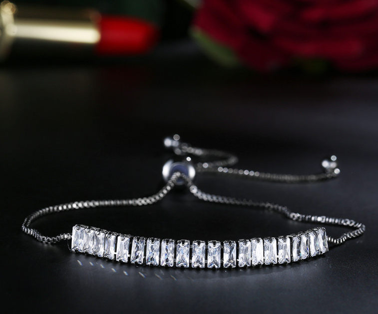 Rhodium plated zircon bracelet luxury wear!
