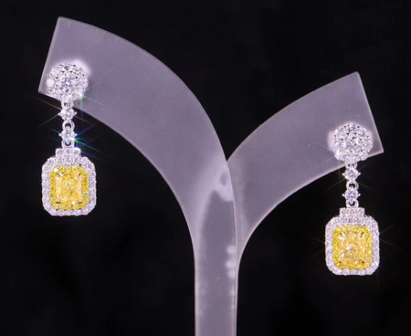 ZIRCON STONES HIGHLY FINISHED ART NOVEAU LUXURY EARRINGS