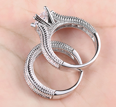 Exclusive Wear Platinum plated ring set of 2