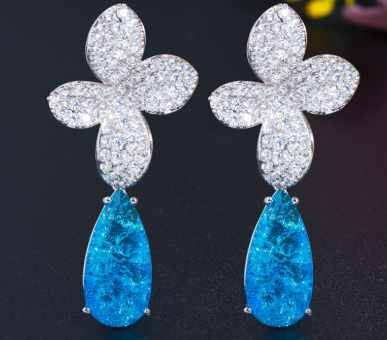 ZIRCON STONES HIGHLY FINISHED RHODIUM PLATED ART NOVEAU LUXURY EARRINGS
