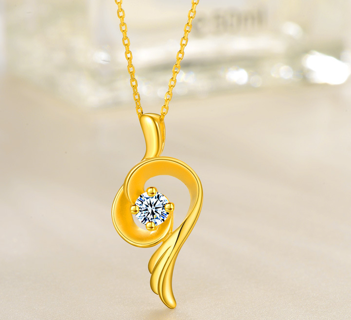 HIGH QUALITY LUXURY WEAR GOLD PLATED ZIRCON PENDANT CHAIN NECKLACE