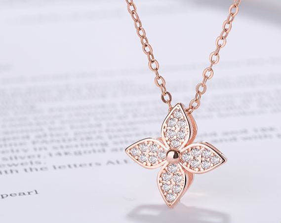 HIGH QUALITY LUXURY WEAR ROSE GOLD PLATED ZIRCON PENDANT CHAIN NECKLACE