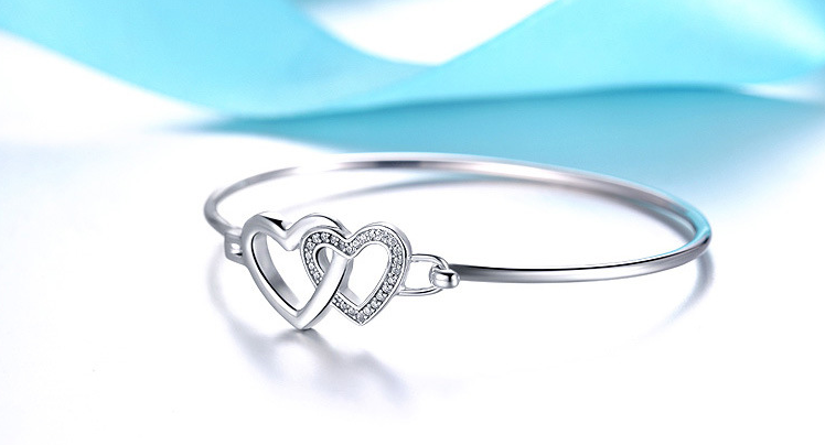 Double heart shaped silver plated open Bracelet Bangle