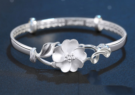 Flower of balance silver plated bangle adjustable can fit any!