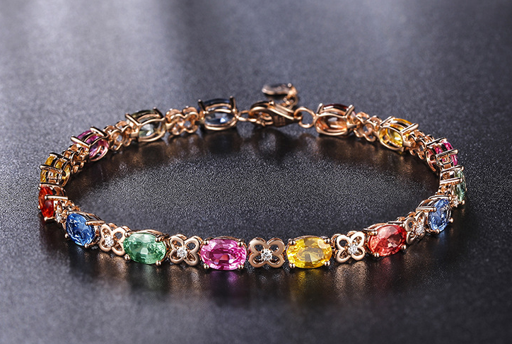 Rose gold plated multi color zircon bracelet!