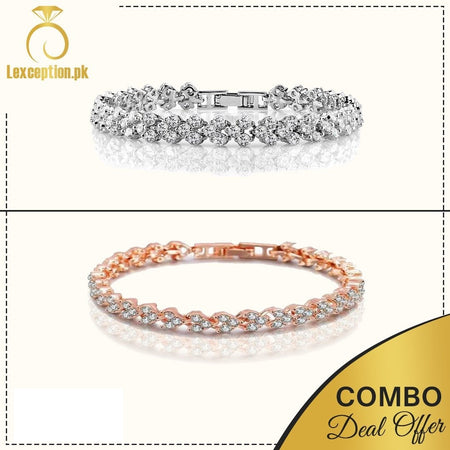 rose gold and platinum plated zircon bracelets set of 2! - Lexception