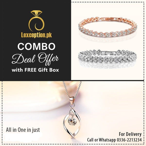 High quality zircon pendant chain necklace and 2 bracelets set (pack of 3 items)!