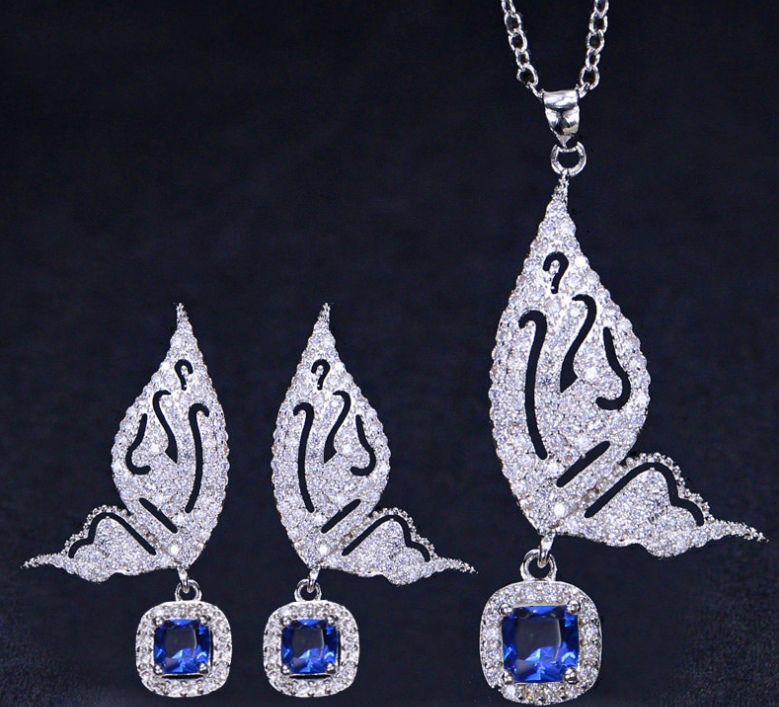 ZIRCON STONES HIGHLY FINISHED RHODIUM PLATED ART NOVEAU LUXURY JEWELRY SET