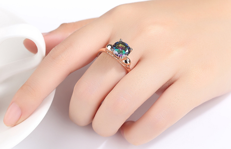 LUXURY WEAR ZIRCON STONE ROSE GOLD PLATED RING
